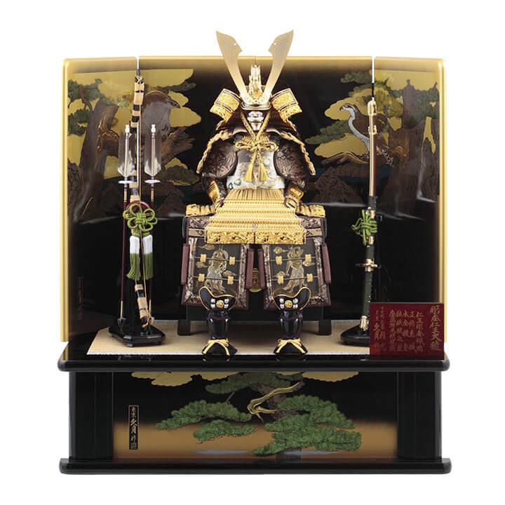 彫金仁王大鎧飾り 正絹緋縅12号 利光監製  70GC-01