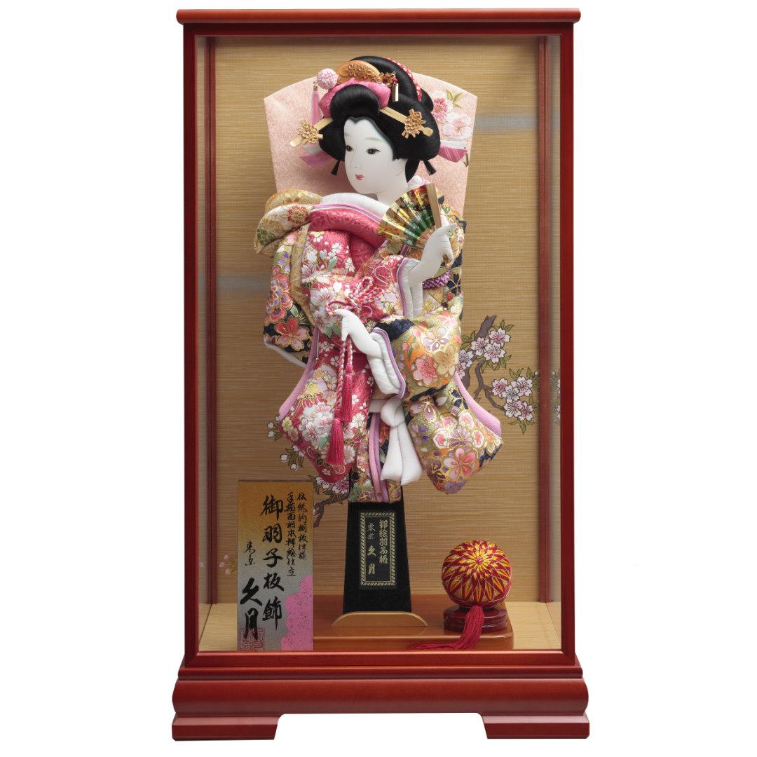 羽子板飾り 金彩刺繡振袖 ケヤキ塗ケース 71EH-17