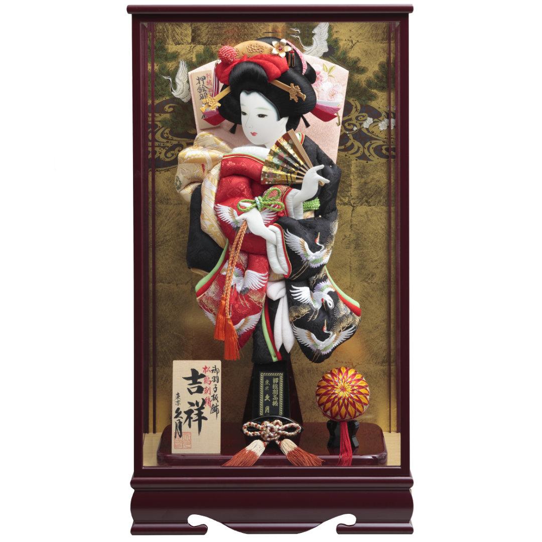 羽子板飾り 松に鶴 刺繍振袖 ワイン塗面取ケース 71EH-18