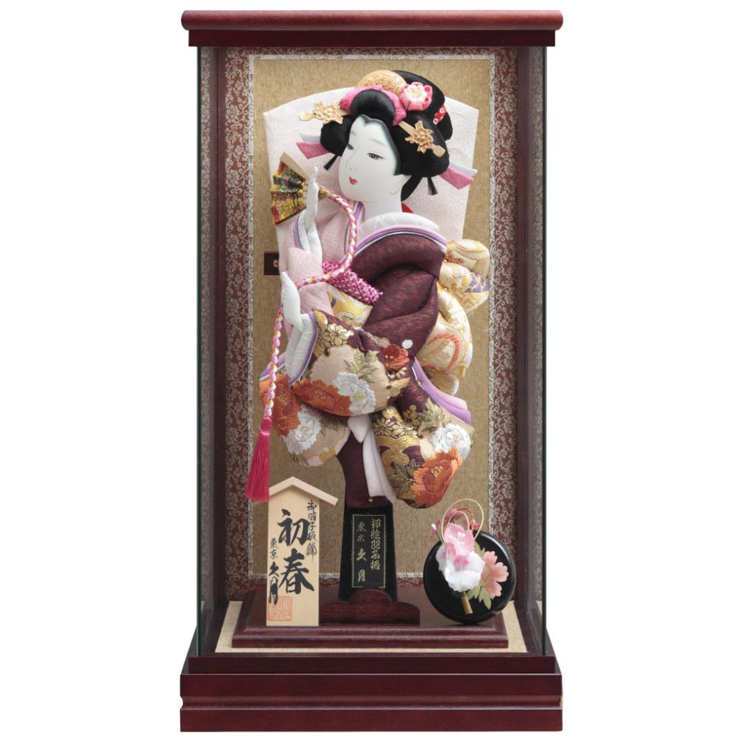 羽子板飾り 刺繡振袖 マホ塗パノラマケース 71EH-11