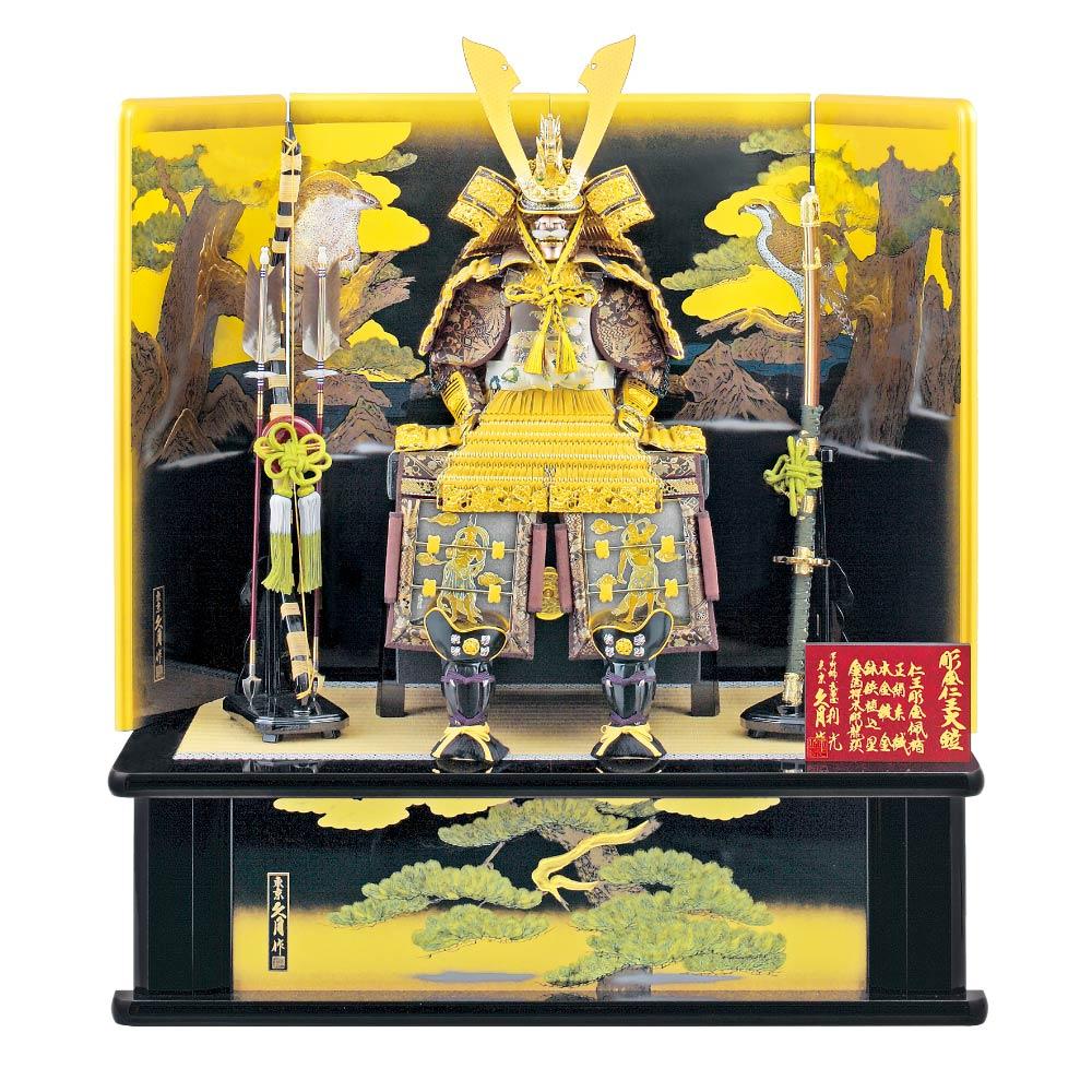 彫金仁王大鎧飾り 正絹緋縅12号 利光監製  71GC-01